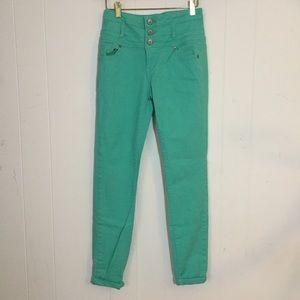 Teal high waisted skinny jeans